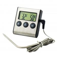 Термометр-таймер с выносным датчиком металлический